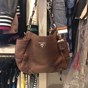 Authentic Brown Leather Prada Bag
